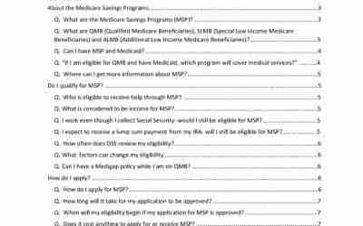 Frequently Asked Questions About Medicare Savings Programs (MSP)